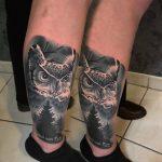 bruce 119 black fekete kar back owl leg color ink man tattoo studio budapest tetovalas bruce - Tetoválás, Ink man tattoo studio, Tetoválás Budapest, piercing