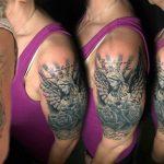 bruce 123 black fekete kar back angel arm color ink man tattoo studio budapest tetovalas bruce - Tetoválás, Ink man tattoo studio, Tetoválás Budapest, piercing
