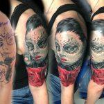 rózsa arc tetoválás, rose face tattoo