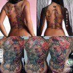 rózsa koponya tetoválás, rose skull tattoo