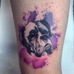 színes kutya tetoválás, color dog tattoo