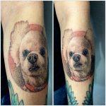 fehér kutya tetoválás, white dog tattoo