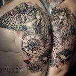 bagoly óra tetoválás, owl clock tattoo