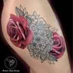 piros rózsa tetoválás, red rose tattoo