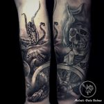 dalma 82 kaloz polip octopus buccaneer fekete black ink man tattoo studio budapest tetovalas dalma - Tetoválás, Ink man tattoo studio, Tetoválás Budapest, piercing