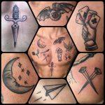 hold kártya kés tetoválás, moon card knife tattoo