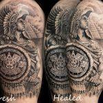 legyógyult harcos alkar tetoválás, healed warrior forearm tattoo