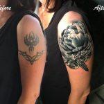 babarózsa lepke tetoválás kar, peony butterfly tattoo arm
