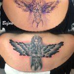 női angyal tetoválás hát, women angel back tattoo