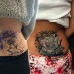 fekete fehér rózsa derék tetoválás, black white waist tattoo rose