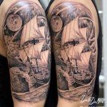 hajó tenger tetoválás kar, boat sea arm tattoo