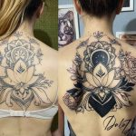 virág mandala hát tetoválás, flower mandala back tattoo