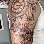 óra léghajó kar tetoválás, clock airship arm tattoo