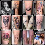 Júlia vegyes színes fekete tetoválások, Julia mixed black color tattoo