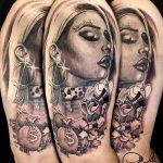 női arc dagobert mese tetoválás, women face dagobert tale tattoo