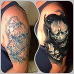 ördög maszk tetoválás kar, devil mask tattoo arm