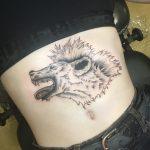 has tetoválás farkas hiéna kutya, body tattoo wolf dog hyena