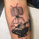 tévé gitár ember tattoo, tv guitar man tattoo