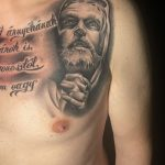 Jézus tetoválás mellkas, Jesus tattoo on chest