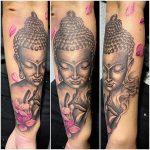 budha rózsaszín virágok tetoválás kar, budha pink flowers tattoo arm