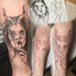 ördög lány késsel kar tetoválás, devil girl with knife arm tattoo