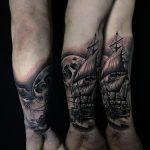 alkar hajó tenger hold tetoválás, forearm ship sea moon tattoo
