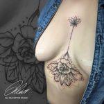 mellkas virág tetoválás, chest flower tattoo