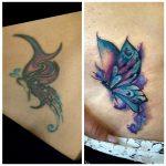 takarás pillangó tetoválás, cover butterfly tattoo