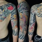 koi ponyt japán tetoválás színes, koi pony japanese tattoo color