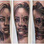 női arc koponya tetoválás, female face with skull tattoo
