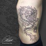 vonalas sárkány tetoválás, line dragon tattoo