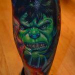 Hulk színes láb tetoválás, Hulk colorful foot tattoo