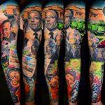 egész kar színes tetoválás, whole arm colorful tattoo