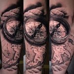 iránytű térkép tetoválás, compass map tattoo