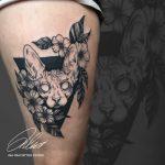 kopaszmacska tetoválás, bald cat tattoo
