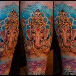 indiai elefánt színes tetoválás, indian elephant colorful tattoo