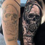 koponya rózsa tetoválás, skull rose tattoo