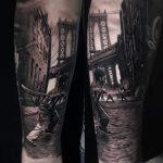 Angliai utcakép tetoválás, English street scene tattoo