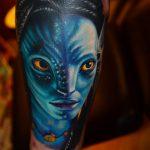 Avatar színes tetoválás kék, Avatar color tattoo in blue
