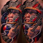 harcos színes portré tetoválás, warrior color portrait with tattoos