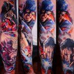 Amerika kapitány színes tetoválás, America captain with colorful tattoos