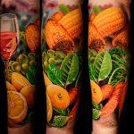 kukorica répa zöldség bor tetoválás, corn beet vegetable wine tattoo